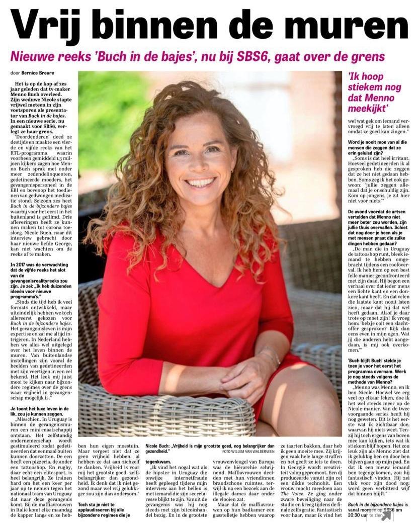 Telegraaf, juli 2020, Buch in de Bijzondere Bajes
